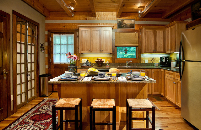 hickory cabinets Kitchen Rustic with antique french doors antique