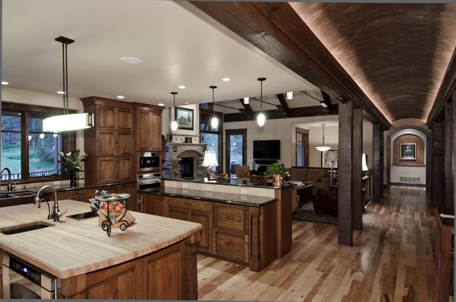 Hickory Cabinets Kitchen Traditional with Barrel Vault Butcher Block