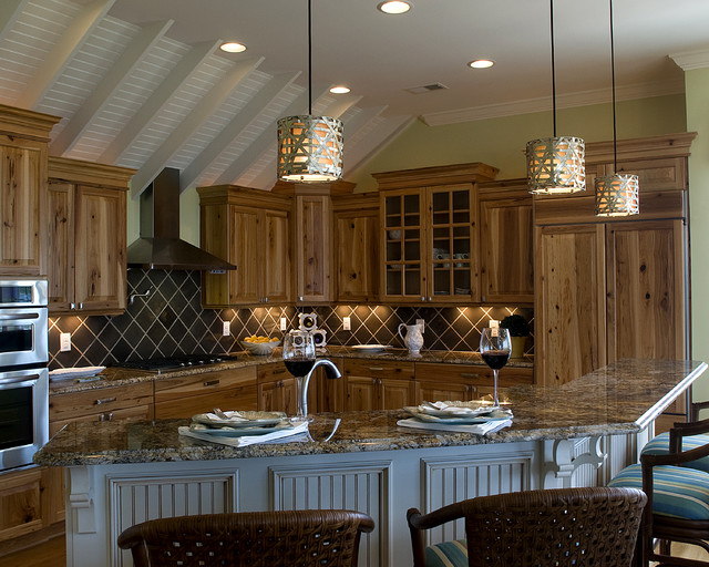 Hickory Cabinets Kitchen Traditional with Beadboard Breakfast Bar Cabinet