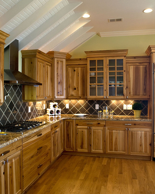 Hickory Cabinets Kitchen Traditional with Beadboard Ceiling Ceiling Lighting