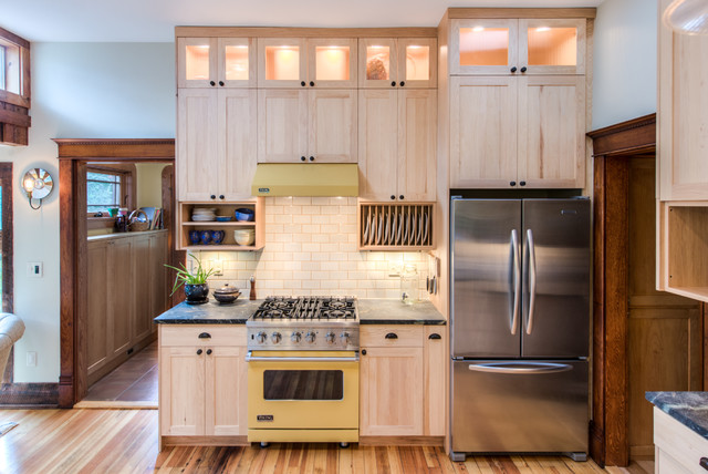 Hickory Cabinets Kitchen Transitional with Beige Wall Black Counter