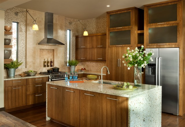 Hickory Cabinets Kitchen Transitional with Cabinets Contemporary Counters Floating