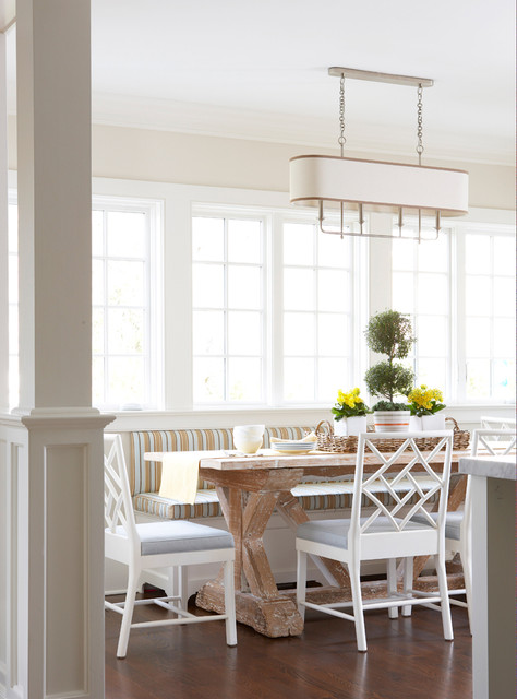 Hickory Chair Dining Room Beach with Bamboo Bench Breakfast Chandelier