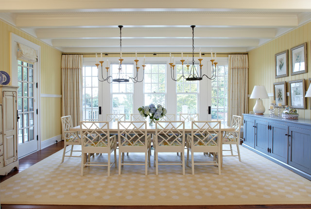 Hickory Chair Dining Room Beach with Beige Curtain Beige Rug