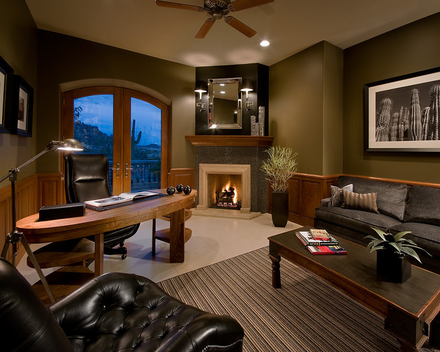 Hickory Chair Home Office Contemporary with Arched Door Ceiling Fan