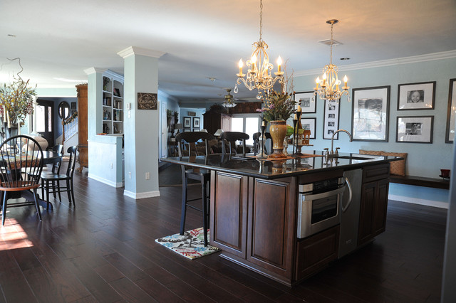 hickory hardwood flooring Kitchen Traditional with barstools bench seating bigger
