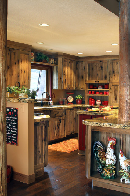 hickory kitchen cabinets Kitchen Farmhouse with barn board beige backsplash