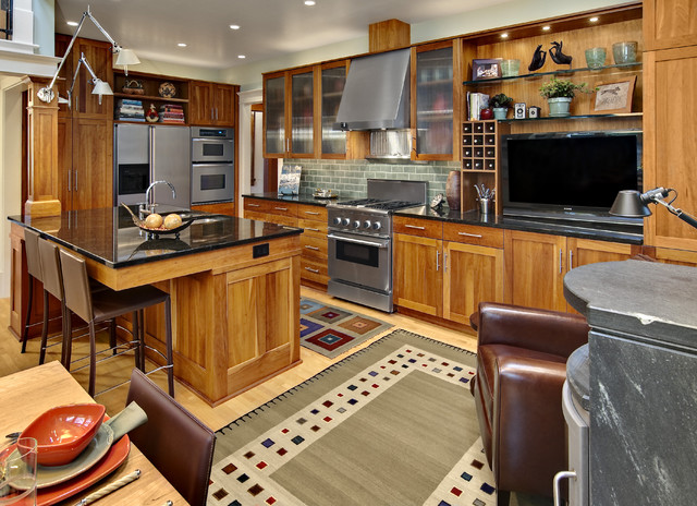 Hickory Kitchen Cabinets Kitchen Traditional with Armchair Frosted Glass Doors1