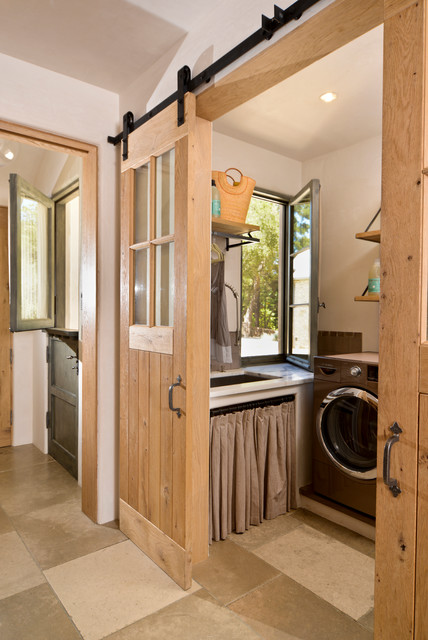 Hidden Cat Litter Box Laundry Room Mediterranean with Barn Door Casement Windows