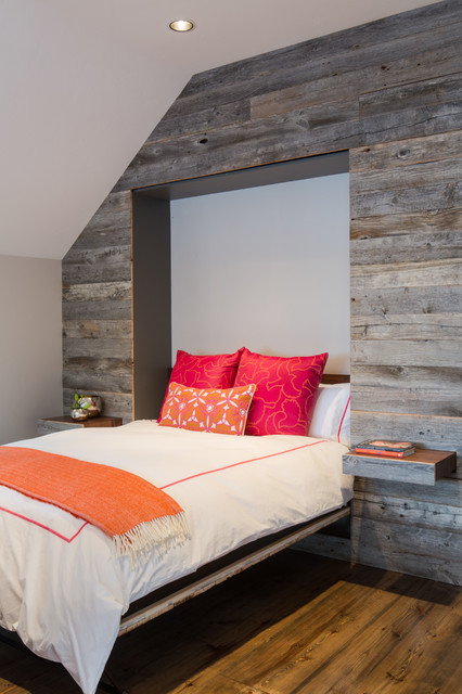 Hideabed Bedroom Rustic with Murphy Bed Orange Blanket