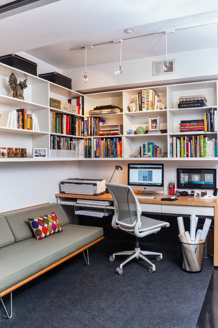 Hideabed Home Office Contemporary with Couch Custom Shelving Mid