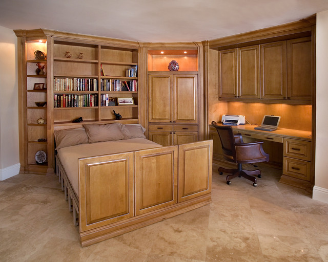 Hideabed Home Office Traditional with Built in Cabinets Built