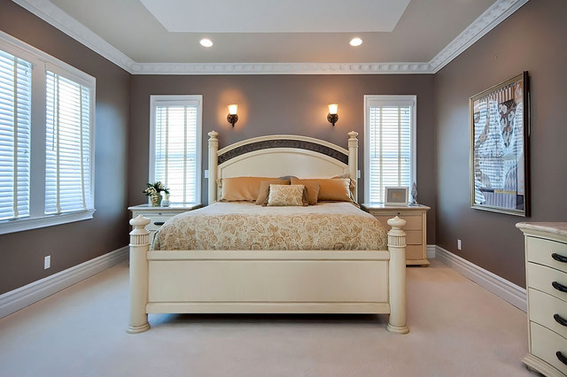 home depot lawrence ks Bedroom Contemporary with brown carpeting carved wood