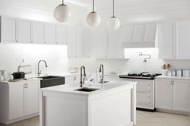Homecrest Cabinets Kitchen Traditional with 3x6 Subway Tile Faucet