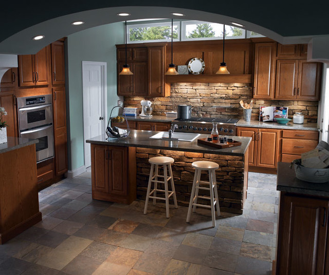 Homecrest Cabinets Kitchen Traditional with Heartland Oak 1