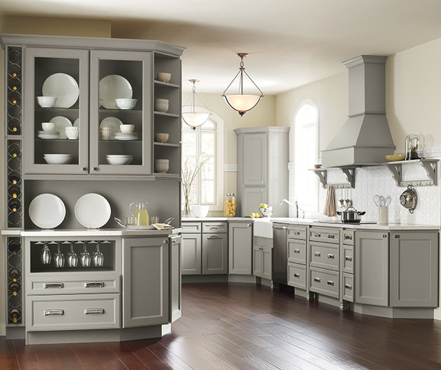 Homecrest Cabinets Kitchen Traditional with Grey Paint 1