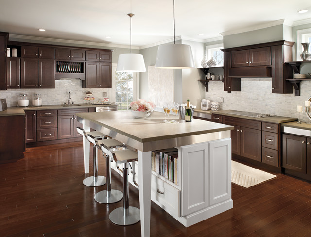 homecrest cabinets Kitchen Transitional with cookbook shelf cooktop island