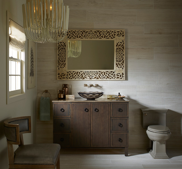 Honed Granite Bathroom Traditional with Glass Neutral Tile Wood
