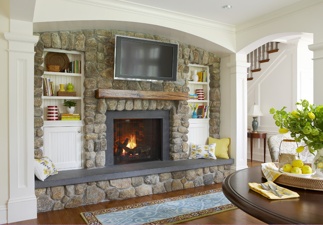 Honed Granite Family Room Traditional with Airy Arch Arch Doorway