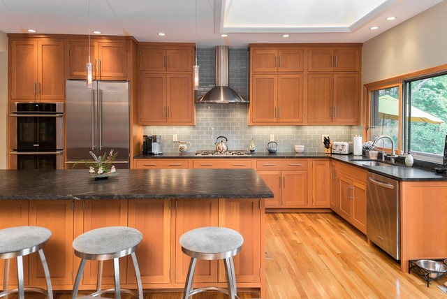 Honed Granite Kitchen Contemporary with Cathedral Ceiling Cedar Ceiling