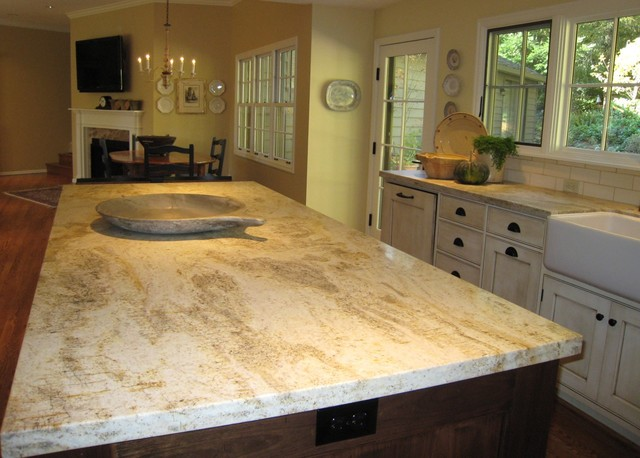 Honed Granite Kitchen Traditional with Beige Wall Bronze Hardware1