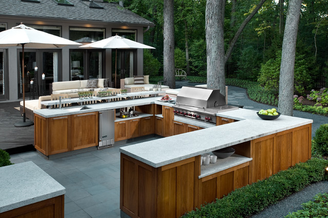 Honed Granite Patio Contemporary with Beige Outdoor Cushions Beige