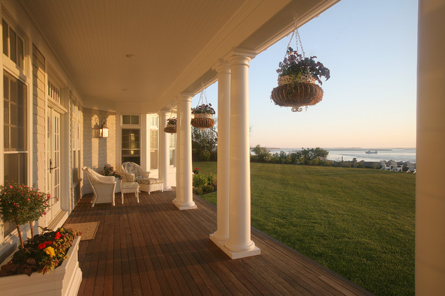 hoover fence Porch Traditional with beadboard ceiling lighting container