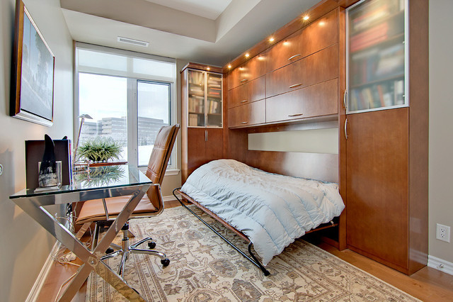Horizontal Murphy Bed Home Office Contemporary with Bedroom Office Beige Rug