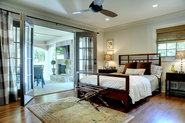Horizontal Striped Curtains Bedroom Traditional with Bamboo Roman Shade Ceiling