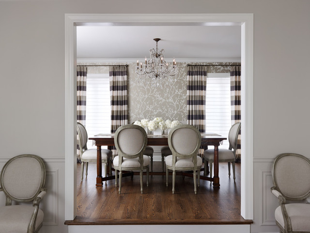 horizontal striped curtains Dining Room Traditional with accent wall branches chandelier