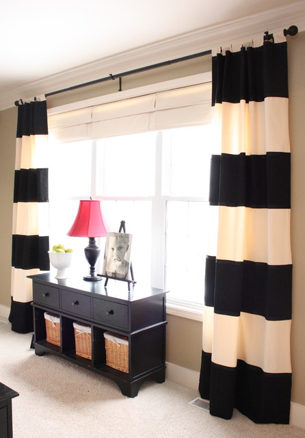 Horizontal Striped Curtains Family Room Traditional with Baseboards Console Table Crown