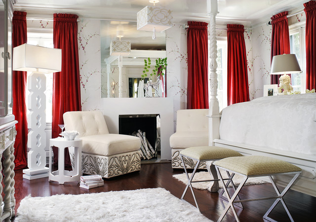hospital curtain track Bedroom Eclectic with armchairs cherry blossom drapes