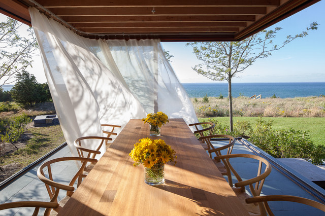 Hospital Curtain Track Dining Room Contemporary with Alfresco Dining Beach Home