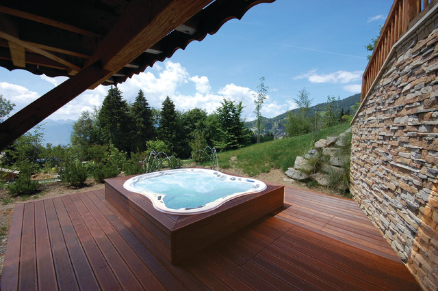 Hot Tub Enclosures Deck Contemporary with Backyard Deck Fountain Home