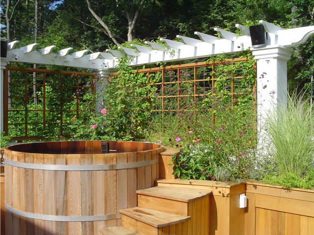 Hot Tub Enclosures Landscape Traditional with Climbing Plants Hot Tub