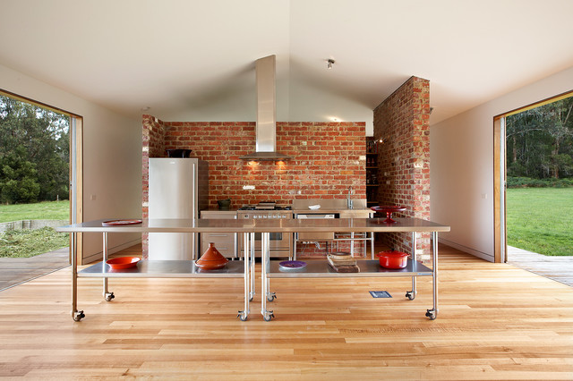 How Much Does It Cost to Refinish Hardwood Floors Kitchen Industrial with Brick Accent Wall Deck