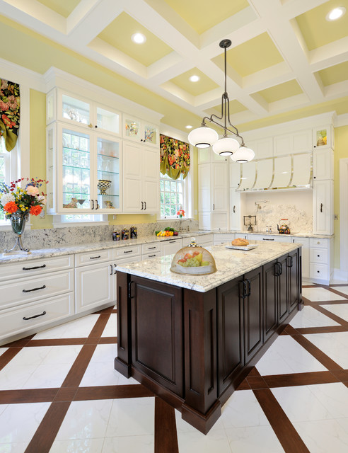 How to Fix Garbage Disposal Kitchen Traditional with Built in Refrigerator Coffered Ceiling