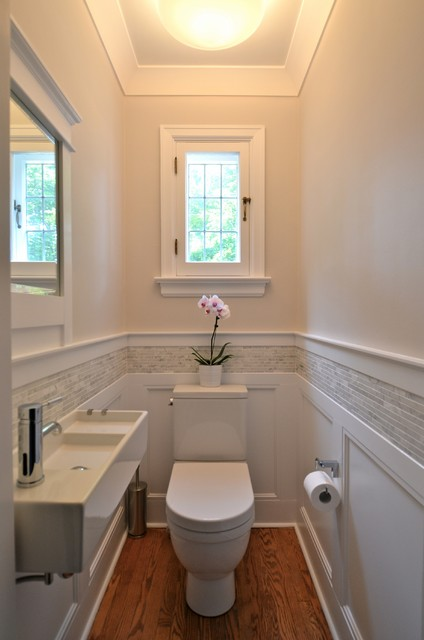 How to Install Wainscoting Powder Room Traditional with Bathroom Beige Walls Casement