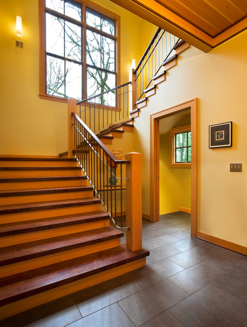 How to Install Wainscoting Staircase Contemporary with Ada Bright Colors Burgundy