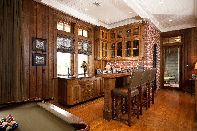 How to Paint Wood Paneling Home Bar Traditional with Beige Brick Counter Stools