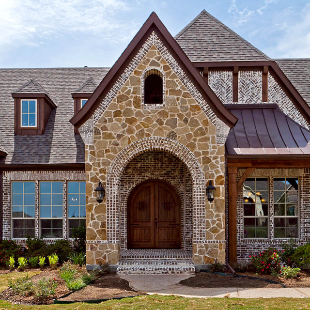 How to Whitewash Brick Exterior Traditional with Arched Doors Arched Openings1