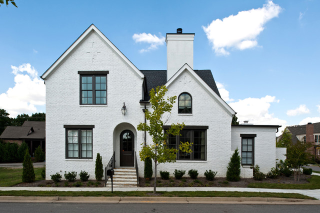 how to whitewash brick Exterior Traditional with arched front door arched