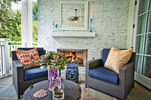 How to Whitewash Brick Patio Contemporary with Blue Garden Stool Blue