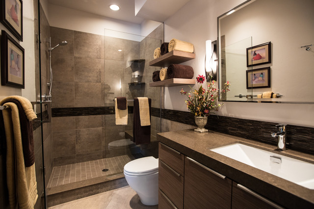 Hubbardton Forge Bathroom Contemporary with Border Caesar Stone Shiitake