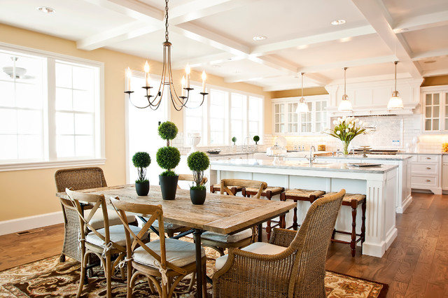 Hubbardton Forge Dining Room Traditional with Area Rug Chandelier Coffered