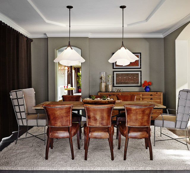 Hubbardton Forge Dining Room Transitional with Brown Window Treatments Burmese