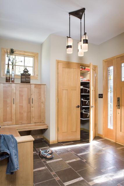 Hubbardton Forge Entry Craftsman with Bench Birch Built in Bench