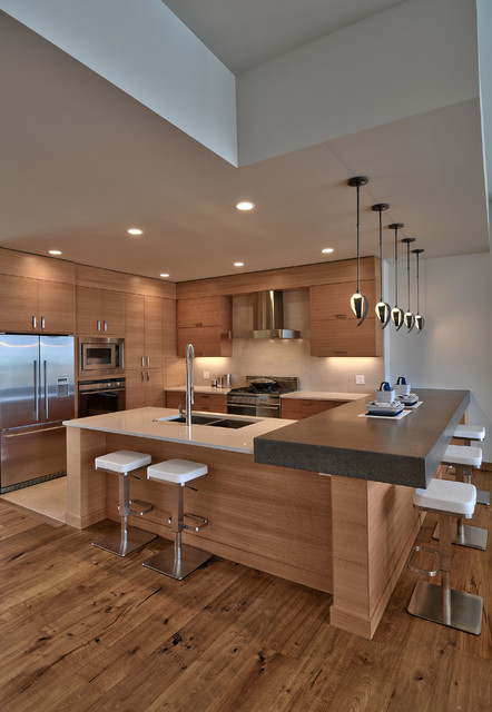 hubbardton forge Kitchen Contemporary with beige backsplash eat-in kitchen