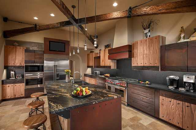 Hubbardton Forge Kitchen Southwestern with Beige Stone Floor Beige