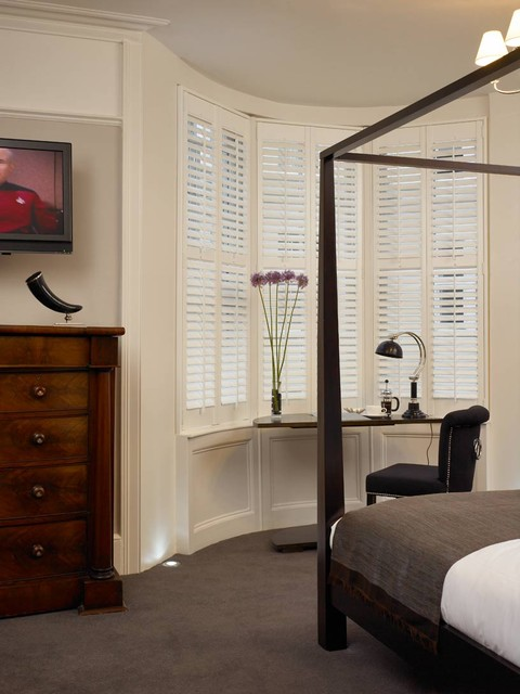 hunter douglas shutters Bedroom Contemporary with bay window bedroom carpet